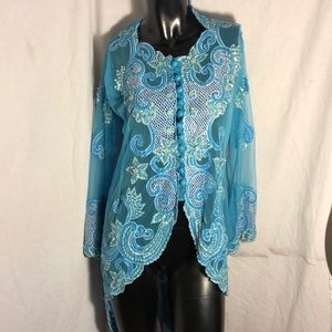 Tops - Women's Teal & White Beaded sequined Top